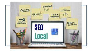 SEO local. Imagen descriptiva con principales elementos del SEO